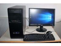 Full Desktop PC, AMD CPU, Nvidia GeForce Graphics, 500GB HDD, 8GB Ram, WiFi, Running Windows 10 Pro