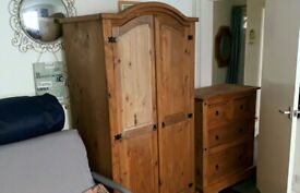 WARDROBE + CHEST OF DRAWERS, Mexican pine.