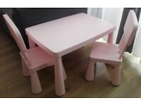 MAMMUT ikea table and 2 chairs for kids, pink