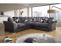 EXPRESS DELIVERY -- SHANNON FABRIC CORNER SOFA IN LEATHER, LEFT & RIGHT ARM ALSO IN 3+2 SEATER SUITE