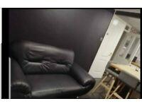 Sofa - Black leather 2 seater ***FREE TO UPLIFT***