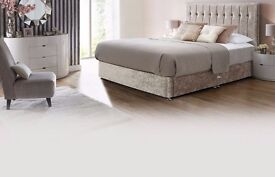 【Luxurious Crushed Velvet Fabric Bed 】!! Single/Double/King Size Divan Bed With Mattress