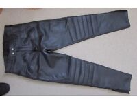 "Padded Leather Motorbike Trousers, 34"" waist"