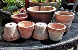 7 vintage clay pots