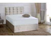Crushed Velvet Divan Bed with Orthopaedic/Memory Sprung Mattress & Cubed Headboard