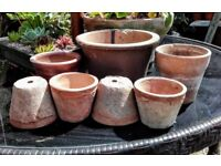 7 vintage clay /terracotta pots no6