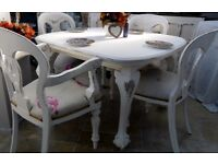 Shabby Chic Antique Table and 4 x Vintage Chairs