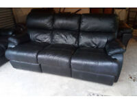 BLACK LEATHER 3 SEATER RECLINING SOFA AND 2 SEATER NORMAL SOFA ULTIMATE COMFORT VIEWING WELCOME