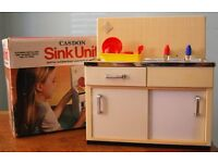 Vintage 1970's Casdon Role Play Kitchen Appliance - Working Sink Unit with Box