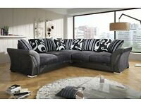 NEW DFS sofa SHANNON CORNER/3+2 SOFA/CUDDLE CHAIR plus FREE storage POUFFE and chrome feet