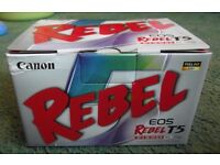 Canon Rebel eos Rebel T5 kit boxed with instructions