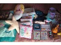 JOB LOT mermaid theme bedroom makeover - bedding curtains lights cushions fish