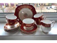 Tea Set China Red White