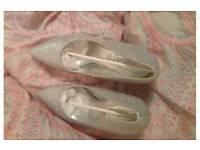 Silver diamante high heels