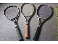 3 Tennis rackets. 1 Dunlop Alloy & 2 Wilson graphite. Can split