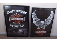 2 Large framed Harley Davidson Posters 26 x 36 inches