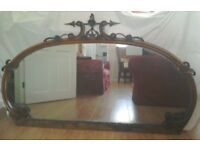 Lovely mid victorian mirror carved wood and beveled glass