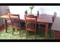 Dining table and 5 chairs.