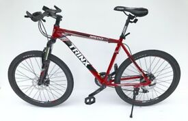 "Mountain bike 26"" wheel 20"" frame 24 shimano gears lock out fork & lightweight in red BRAND NEW"