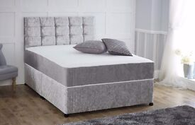 NEW STOCK OFFER /// SINGLE/DOUBLE BRAND NEW CRUSHED VELVET DIVAN BED AND MATRESSES