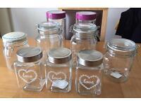 8 x Kitchen storage jars / containers - Pasta, Tea, Coffee, Jam etc (NEW & UNUSED)