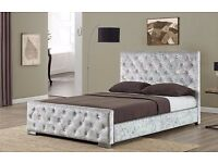 SILVER DOUBLE CRUSHED VELVET CHESTERFIELD BED WITH COMFORTABLE MATTRESS -- SINGLE KINGSIZE AVAILABLE