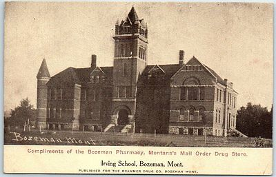 Bozeman, Montana Postcard IRVING SCHOOL Building View Brammer Drug Store (Bozeman Stores)