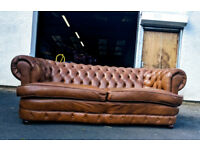 Tan leather chesterfield 3 seater sofa DELIVERY AVAILABLE