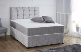 【SAME DAY CASH ON DELIVERY 】 BRAND NEW DOUBLE CRUSH VELVET DIVAN BED WITH WHITE ORTHOPEDIC MATTRESS