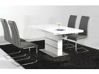 Wayfair Heartlands Dolores Dining Table - White & Steel - Brand New - 120cm x 80cm