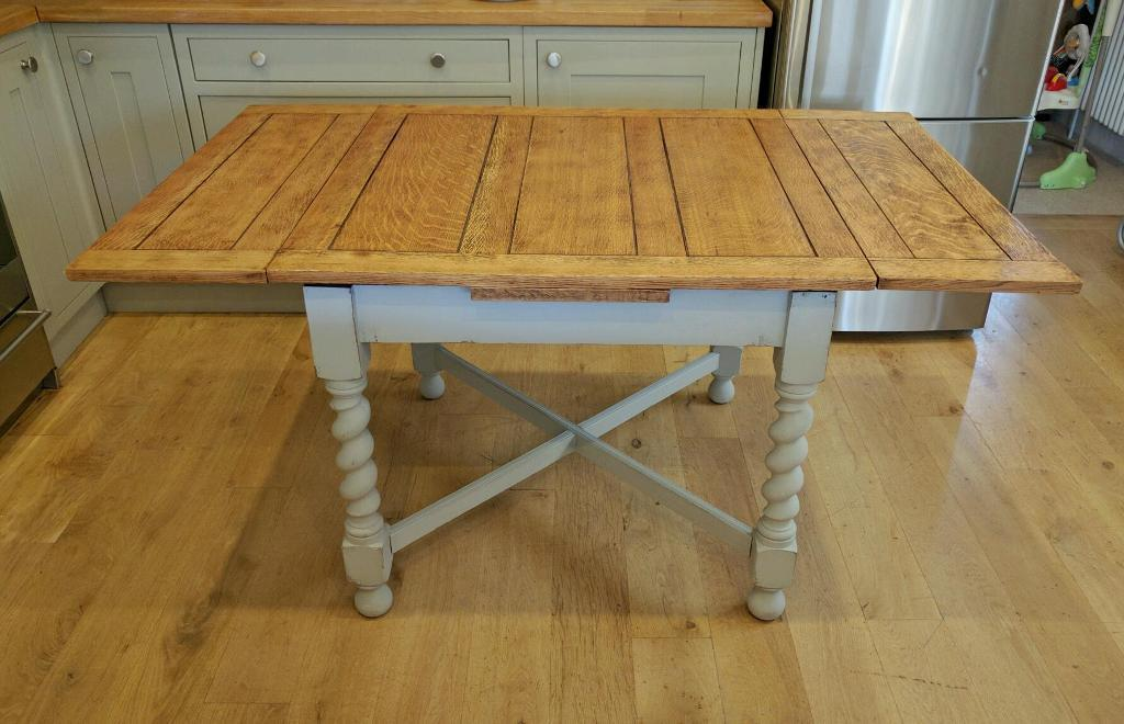 ... Pull Out Leaves 38 X Antique Farmhouse Table Solid Oak Vintage Draw Leaf  Table Extending Dining Kitchen 1930s ...