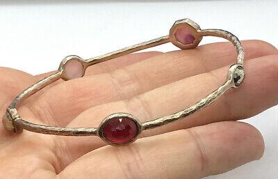 "Ippolita Sterling Silver Bangle Bracelet 5 Stones Red - Metallic Beautiful Sz 7"""