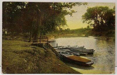 Country Scene, Lake, Boats from Crozet VA to Flatbush- Brooklyn NY Postcard D16