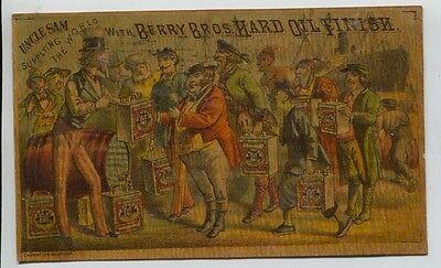 Victorian Trade Card UNCLE SAM Berry Bros Hard Oil Finish Detroit, Michigan