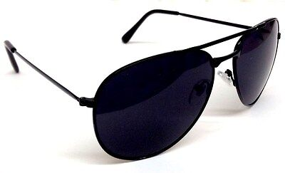 AVIATOR SUNGLASSES RETRO VINTAGE BLACK LENS POLICE PILOT METAL FRAME BLACK (Police Sunglasses)