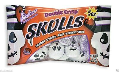 PALMER 5 oz Bag SKULLS Double Crisp HALLOWEEN Candy/Candies CHOCOLATE Exp. 2/20 - Palmer Candy Halloween