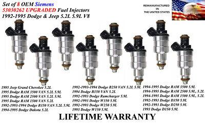 Set Of 8 Genuine Upgraded Fuel Injectors For 1992-1993 Dodge D250 & D350 5.9L