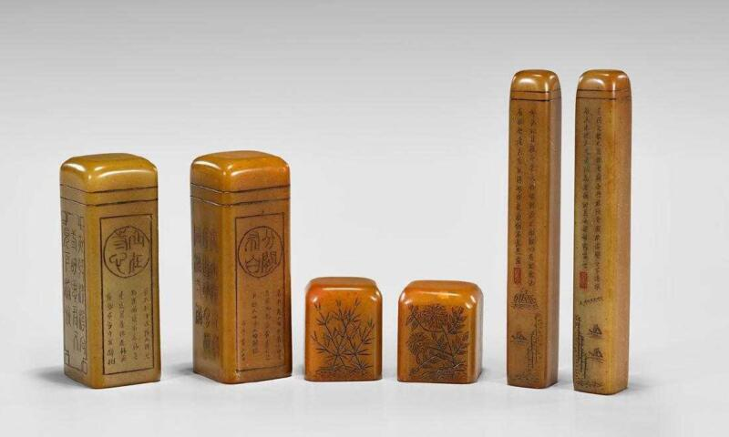 Six Fine Chinese Carved Shoushan Seals.