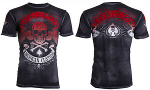 $58 AFFLICTION American Customs SPEED RUN Skull Fight Biker UFC T-SHIRT MENS L