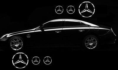 6x Mercedes Benz Stern Aufkleber Chrom Folie Seitenaufkleber Sticker Tuning Logo