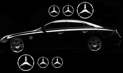 6x Mercedes Benz Stern Aufkleber Chrom Folie Seitenaufkleber Sticker Logo Tuning
