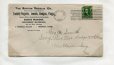 Advertising Envelope BOSTON REGALIA CO 1903 Military Badges Jewels Flags #D7
