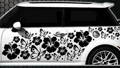 122 piezas Pegatinas De Coches Flores Del Hibisco Mariposas HAWAII a WANDTATTOO