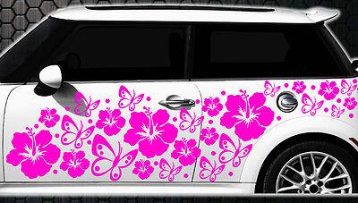 122 piezas Pegatinas De Coches Flores Del Hibisco Mariposas HAWAII v WANDTATTOO