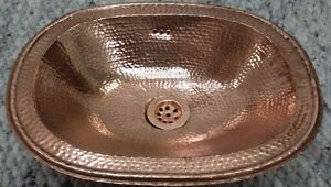 Large Red Copper Handmade Moroccan Bathroom Basin-Oval, Hammered 49x39 H12 cm
