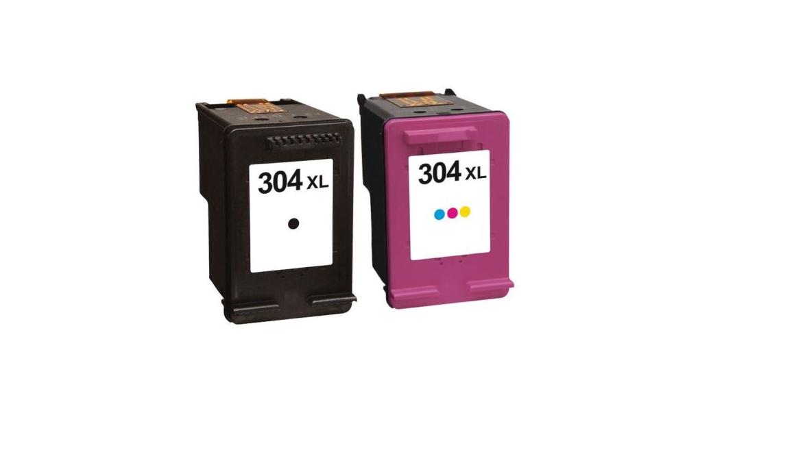 Pack de 2 cartouches d'encre hp 304 xl non oem pour imprimante hp deskjet  envy