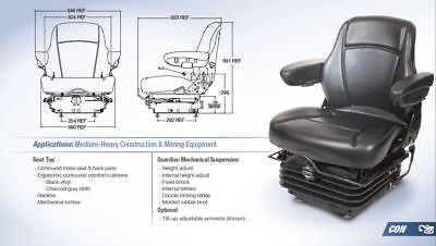 Mechanical Suspension Seat Ford Tw30 Tw40 9700 Tractors Black Vinyl