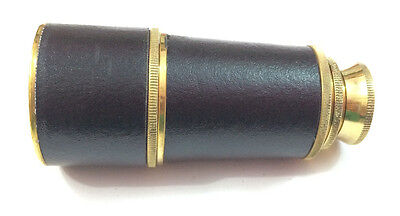 "6"" ANTIQUE MARITIME BRASS LEATHER POCKET TELESCOPE VINTAGE PIRATE SPYGLASS SCOPE"