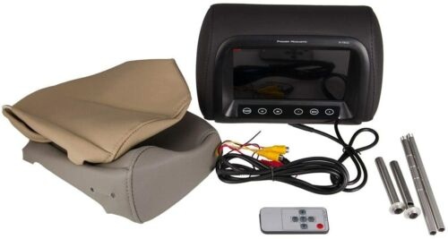 "Poweracoustik 7"" Universal Replacement Pillow Headrest Monitor Black Beige Gray"