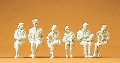 Preiser 45179 Sentados Personas, 6 Figuras sin Pintar, Para LGB , 1:22,5
